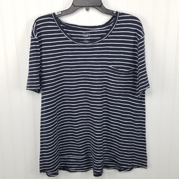 f7c2d94c14f GAP Tops | Navy Blue White Striped Pocket T Shirt | Poshmark